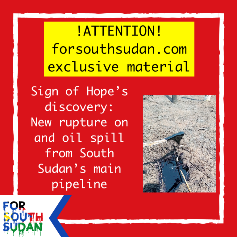 Sign of Hope's discovery: New rupture on and oil spill from South Sudan's main pipeline