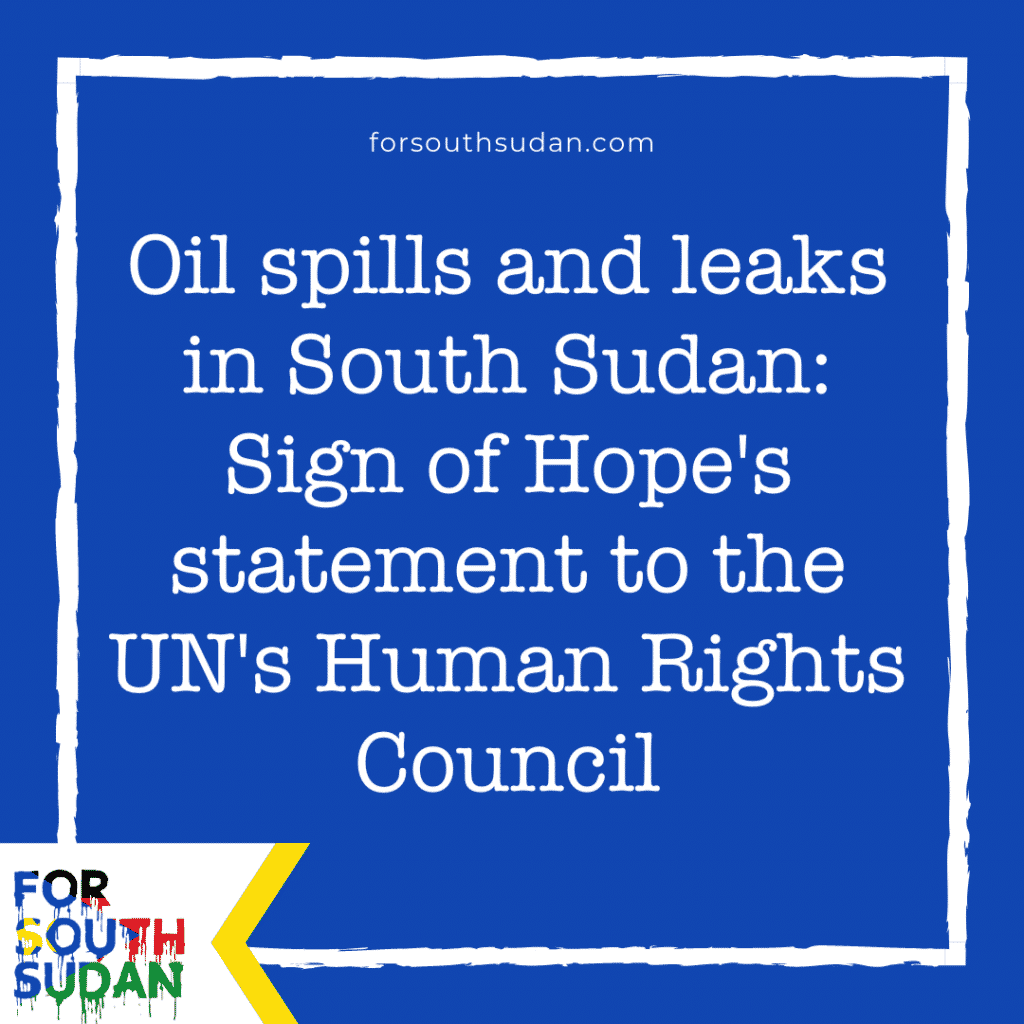 Oil spills and leaks in South Sudan: Sign of Hope's statement to the UN's Human Rights Council