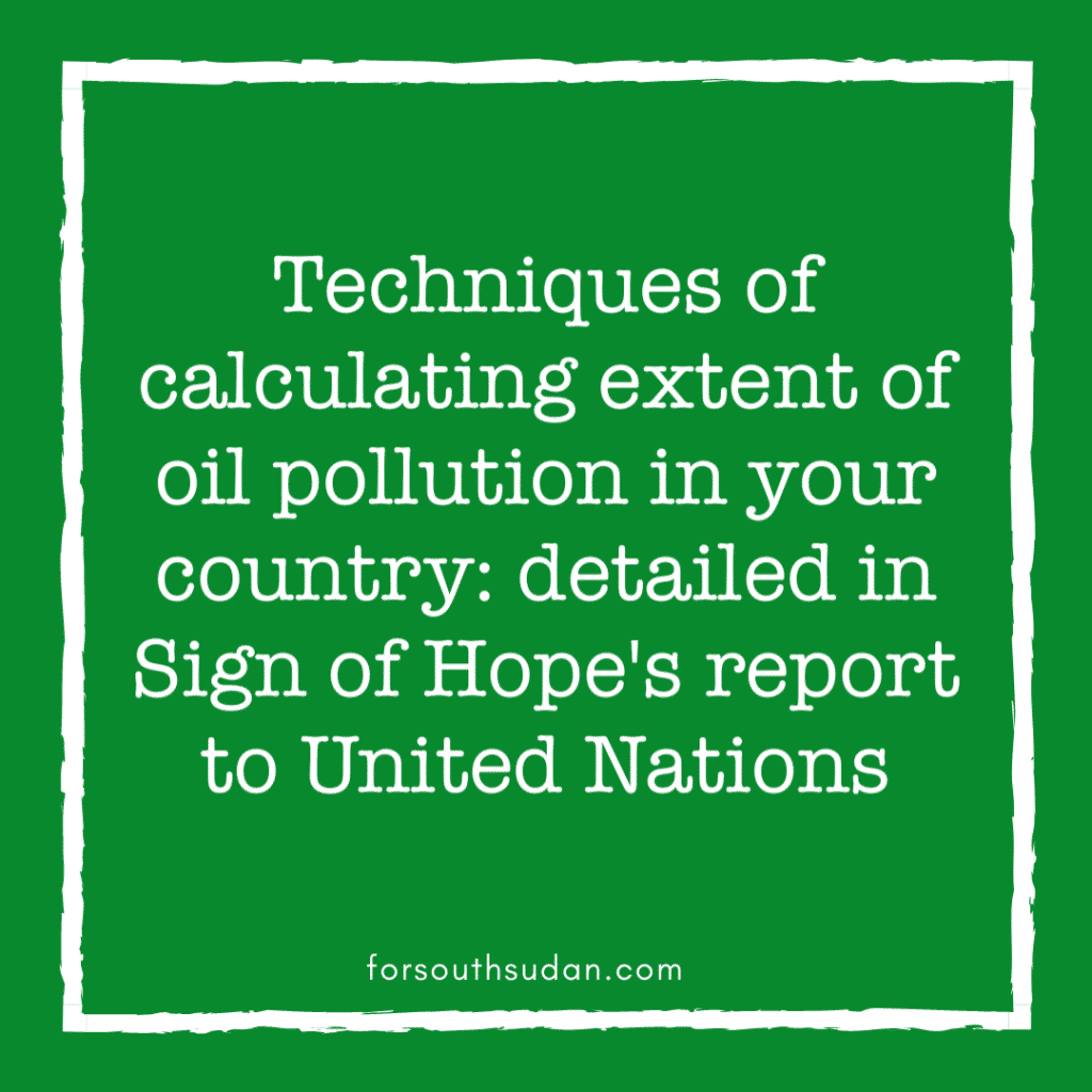 Techniques of calculating extent of oil pollution in your country: detailed in Sign of Hope's report to United Nations