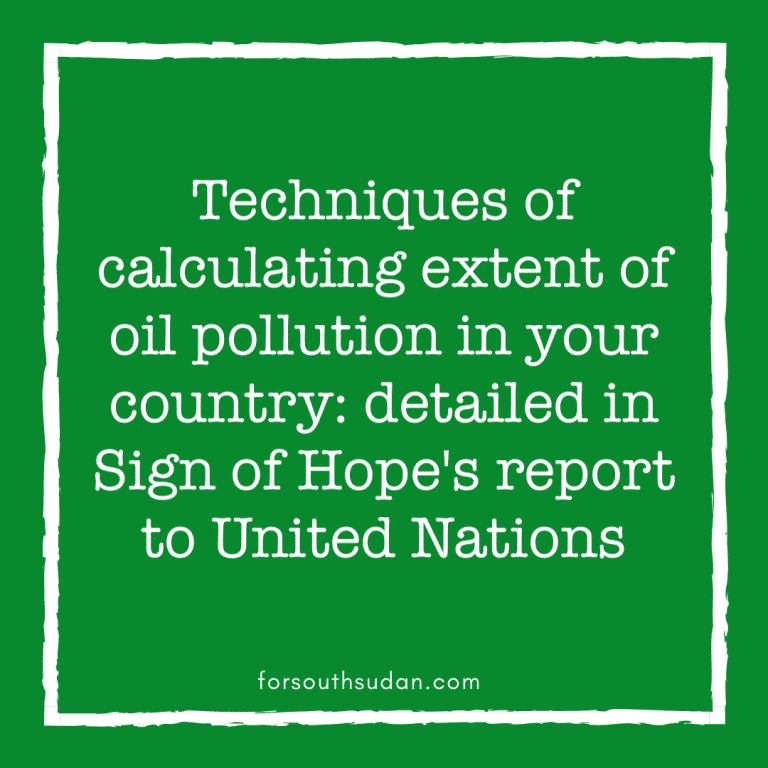 Techniques of calculating extent of oil pollution in your country: in Sign of Hope's report to the United Nations on the poisoning of South Sudan