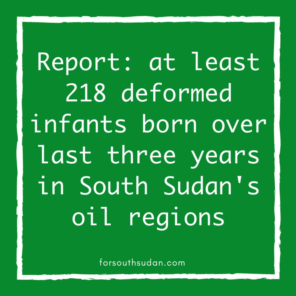 Report: at least 218 deformed infants born over last three years in South Sudan's oil regions